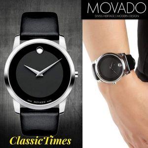 **NEW** Men Movado Museum Black Dial Black Leather